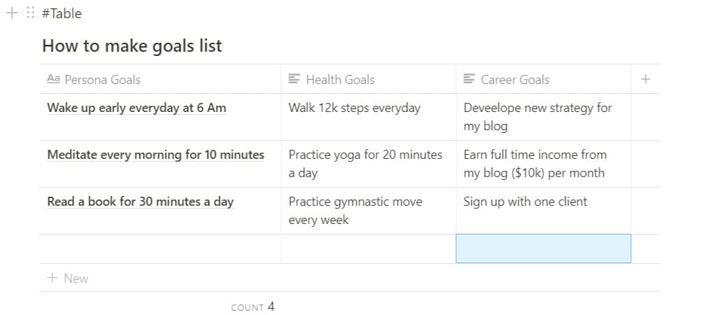 How to make a goal list using notion