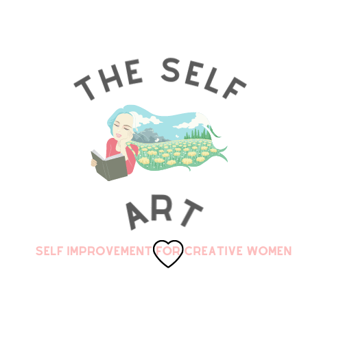 Woman reading self improvement book. This is a logo for the self art website.